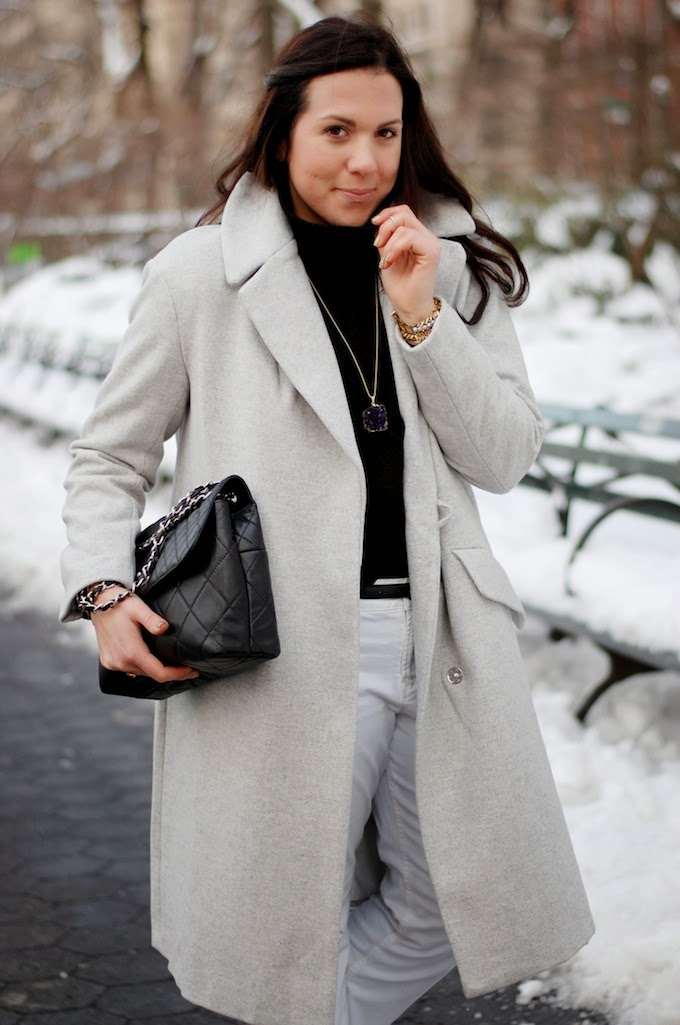 H&M wool coat and Chanel ITB