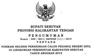 Pengumuman CPNS 2019 Kab. Seruyan