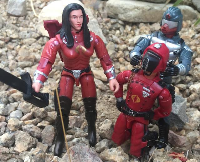 2003 Crimson Guard Immortal, 1998 Cobra Trooper, Viper, Agent Faces, Baroness, 2005 Imperial Processional, Crimson guard