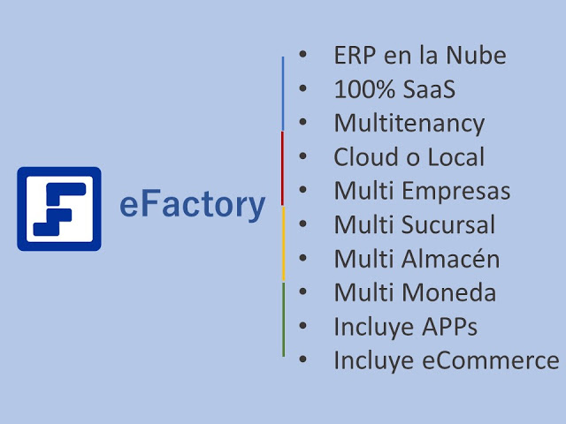 ERP en Nube Accediendo a las Opciones de los Menús de eFactory ERP