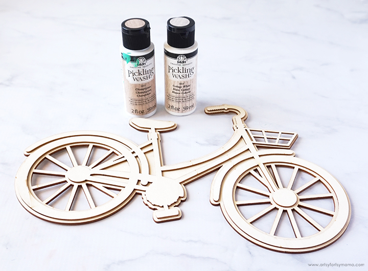 Wood Bicycle and Paint Bottles