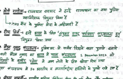 December 2017- Hand Written Current Affairs Notes(Hindi)