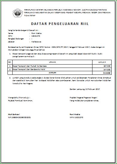 Aplikasi Excel Surat Perintah Perjalanan Dinas Sppd
