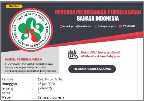 RPP Daring Bahasa Indonesia Kelas VIII SMP
