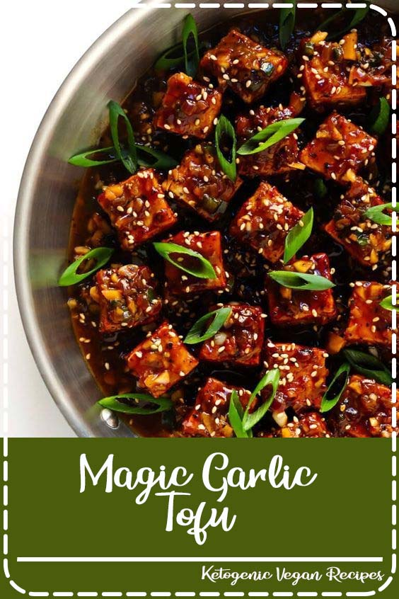 made with my easy baked tofu recipe and tossed with the most heavenly garlic black pepper Magic Garlic Tofu