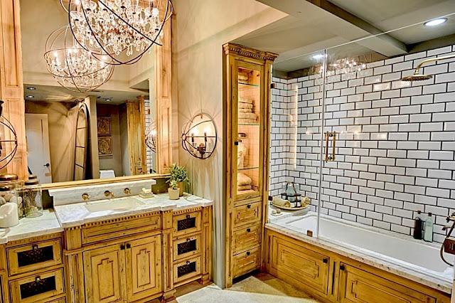 ห้องน้ำสวยด้วยเฟอร์นิเจอร์ลายไม้