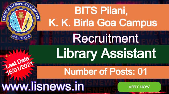 Library Assistant at BITS Pilani, K. K. Birla Goa Campus