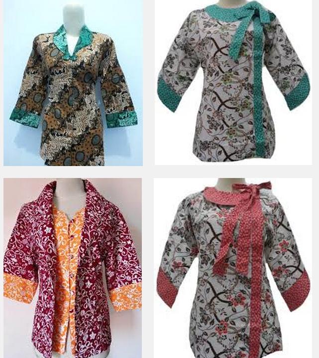 Baju Batik Wanita Kantor: Model Baju Batik Kantor Terbaru Wanita Kombinasi Atas