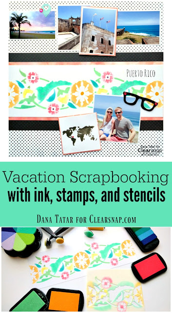 How to Stamp Stencil and Emboss a Vacation Scrapbook Page by Dana Tatar