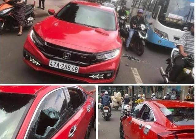 Khởi tố nhà sư vung gậy cố ý đập phá xe ô tô người đi đường