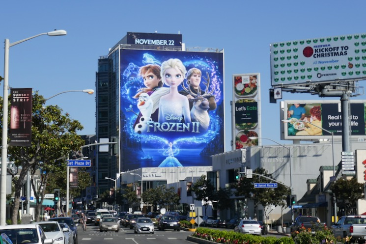 Giant Disney Frozen II film billboard