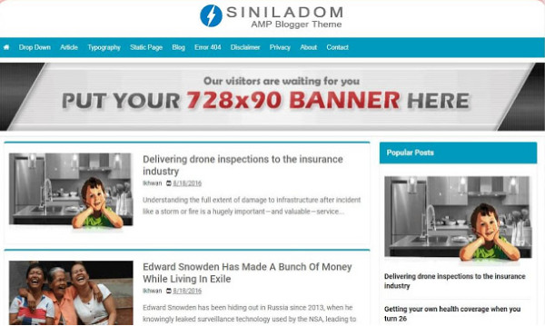 Download Template Blogger AMP Siniladom Terbaru Gratis