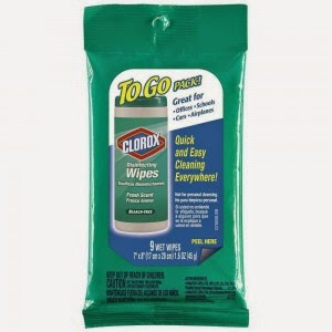 FREE Clorox Wipes travel size.
