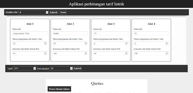 Source Code PHP Aplikasi Perhitungan Tarif Listrik Sederhana