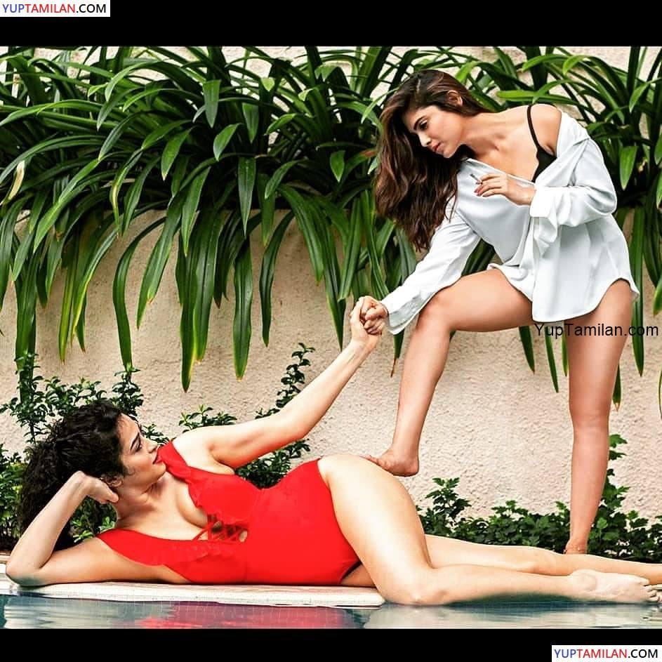 Apsara Rani & Naina Ganguly Lesbian Romantic Pics from Dangerous Movie