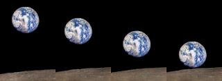 Il sorgere della Terra dalla Luna: serie di foto della sonda Zond 7.