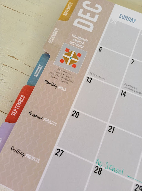 Monthly calendar in the Quilter's Planner