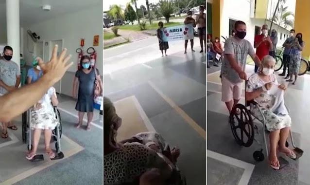 """Idosa com Covid-19 recebe oração na saída de hospital após alta: """"Vimos a presença de Deus"""""""