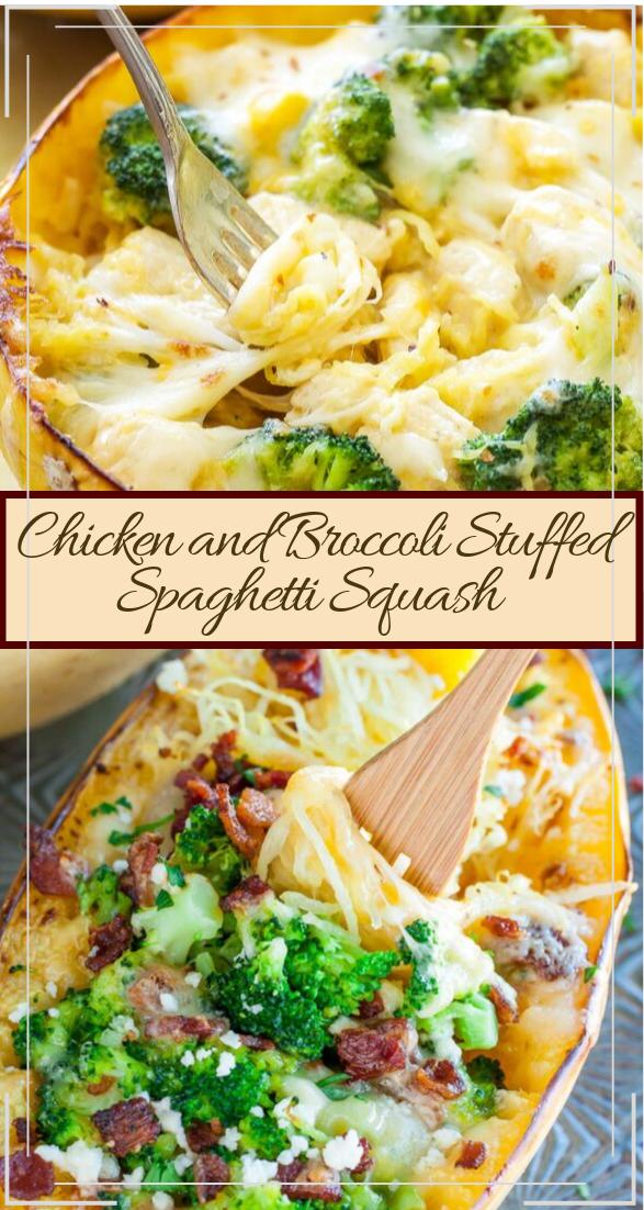 Chicken and Broccoli Stuffed Spaghetti Squash #dinnerrecipe #food #amazingrecipe #easyrecipe