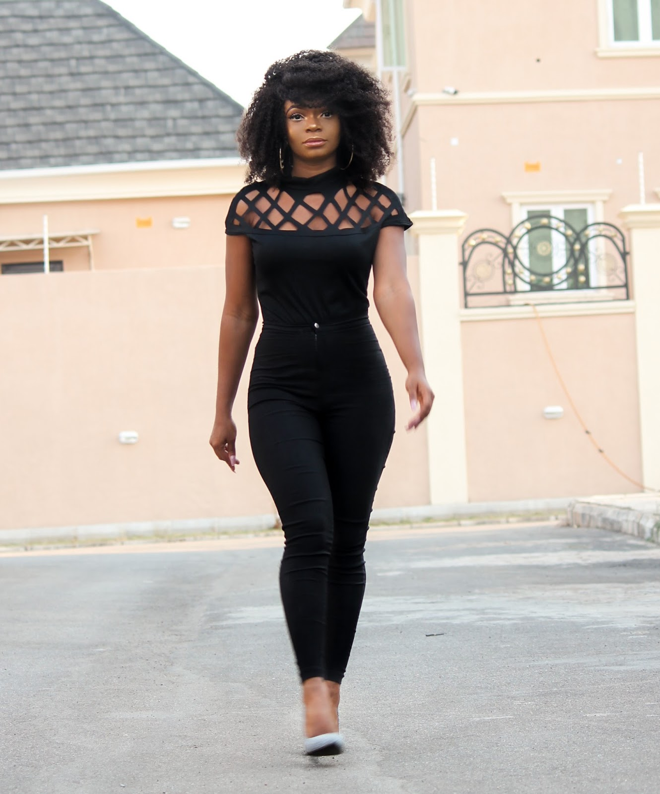 BLACK IS THE NEW BLACK - Black Caged Top, Black High Waisted Pants, Glitter Court Shoes from Jumia