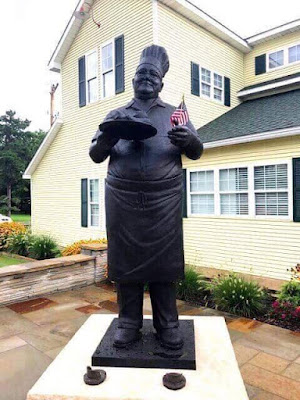 Statue of Pete at Pete's Place restaurant in Krebs Oklahoma
