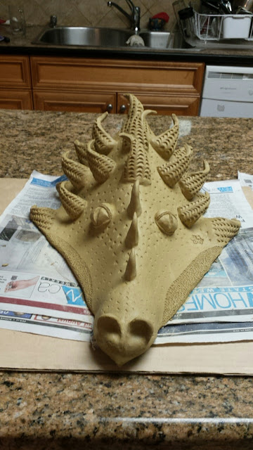 Bob Kingsmill ceramic dragon mask, in progress, by Lily L.