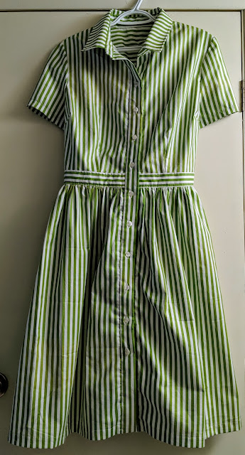 Green and white striped cotton broadcloth dress.