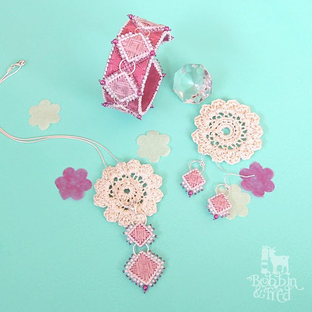 Embroidered Necklace, Earrings and Bracelet by Bobbin and Fred