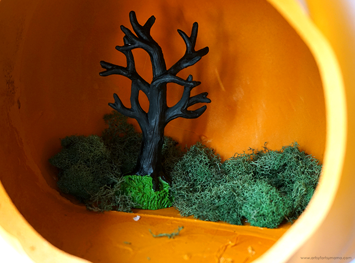 Pumpkin Diorama with Tree and Moss