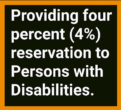 Providing four percent (4%) reservation to Persons with Disabilities.