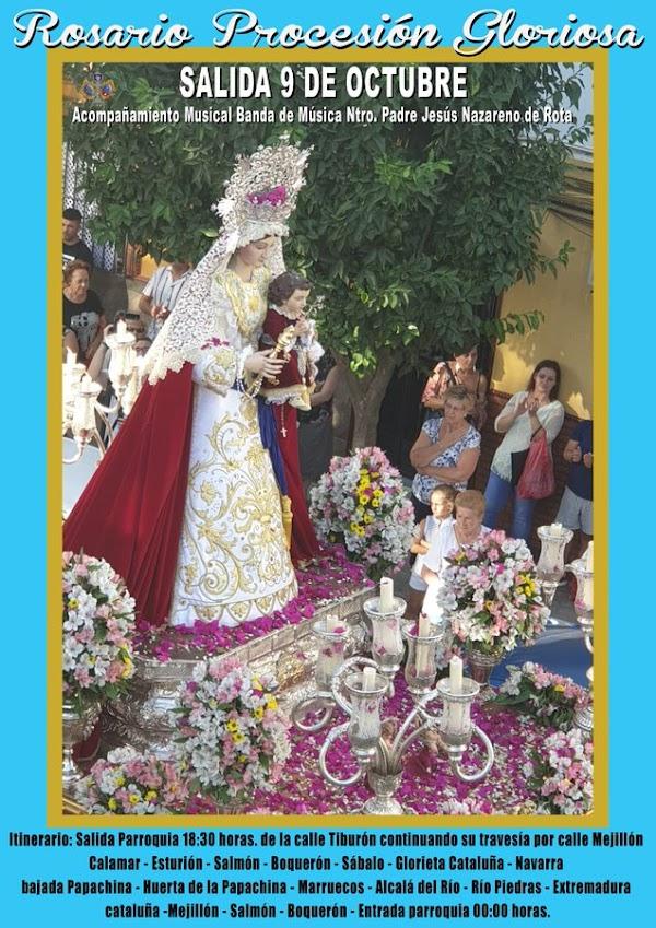 Horario e Itinerario Salida Procesional Virgen del Rosario de San Jerónimo. Sevilla 09 de Octubre del 2021