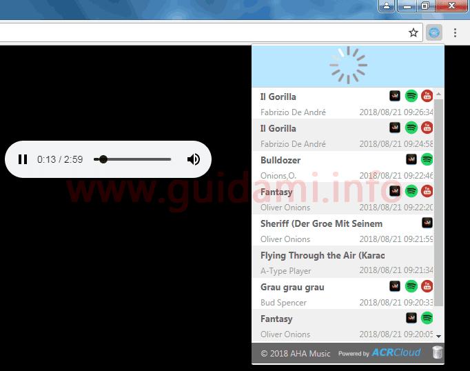 Popup identificazione titolo canzone estensione AHA Music - Music Identifier