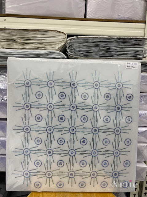Hotfix stickers dmc rhinestone aplikasi tudung bawal fabrik pakaian bulatan 3 line all blue