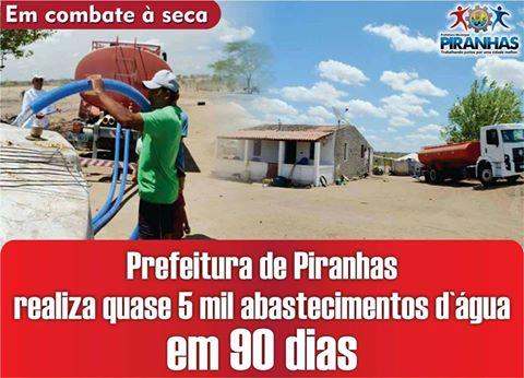 Em combate à seca, Prefeitura de Piranhas realiza quase 5 mil abastecimentos d`água em 90 dias