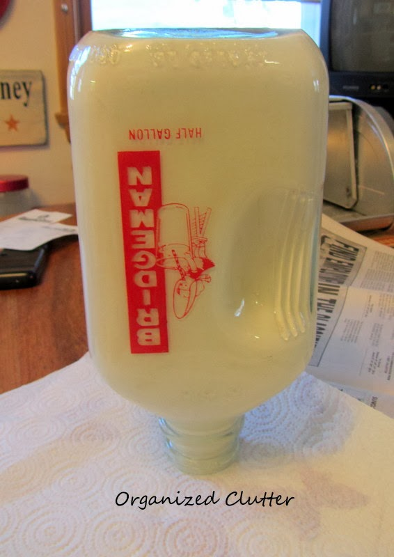 Vintage Milk Bottle with Inside Painted with Craft Paint www.organizedclutterqueen.blogspot.com