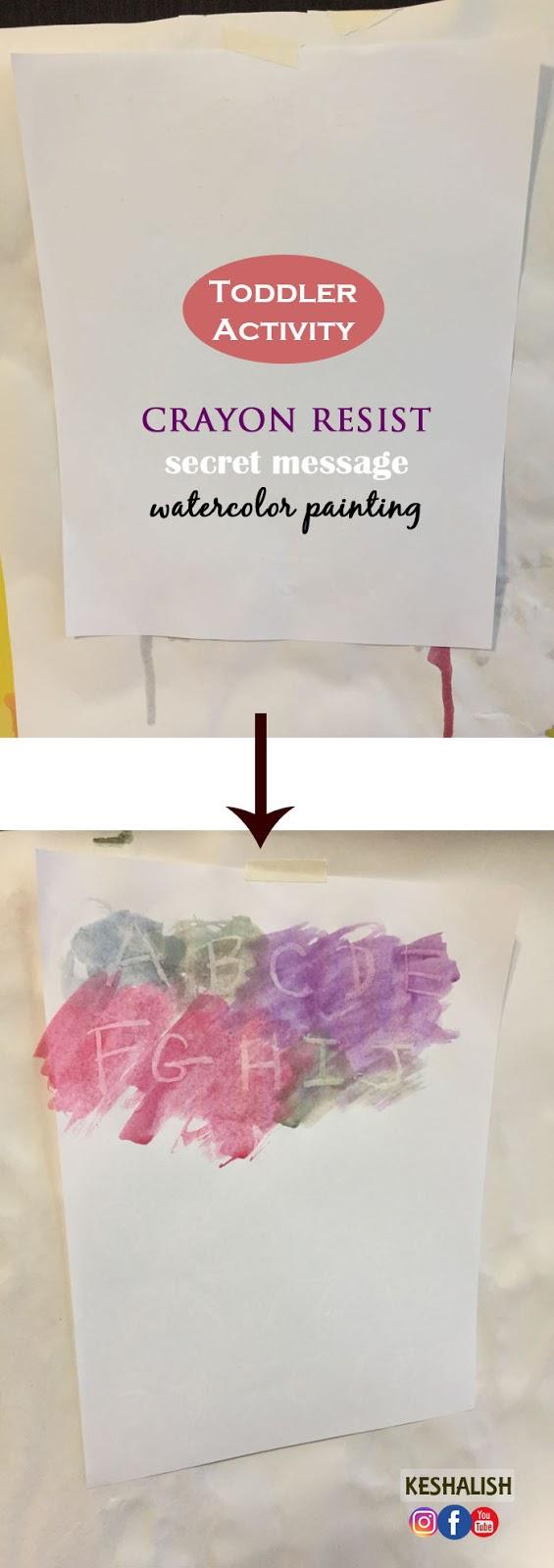 keshalish: Crayon Resist Secret Message Watercolor Painting