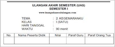 download Soal PAS UAS Kelas 1 Tema 2 Semester 1