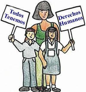 Dibujos de escolares con carteles alusivos a los derechos humanos