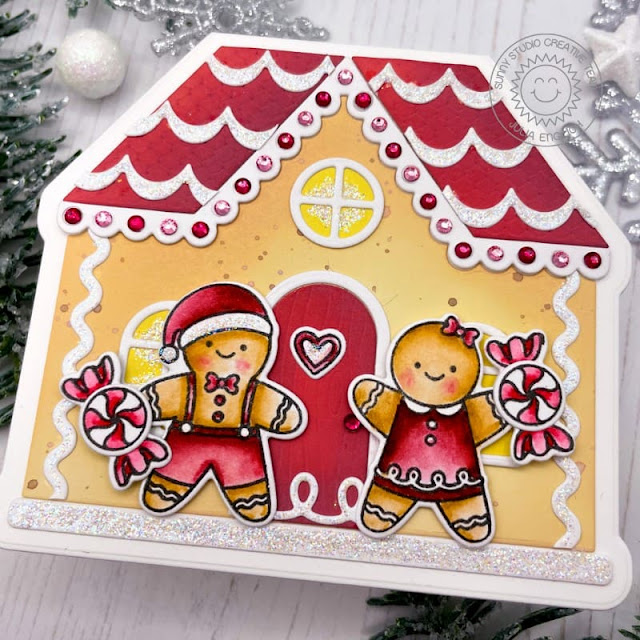 Sunny Studio Stamps: Icing Border Die Christmas Cookies Gingerbread House Die Christmas Card by Julia Englich