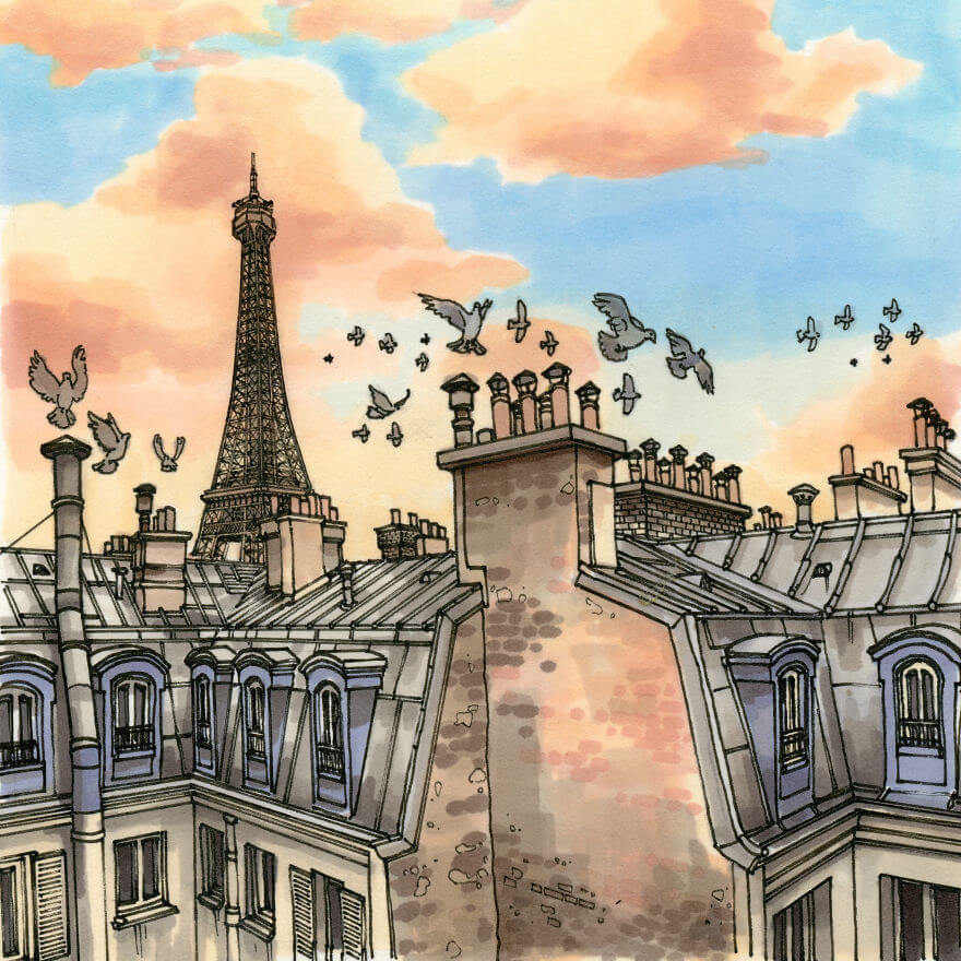 13 Artistic Illustrations Of Famous Places Around The World - Paris In Gold