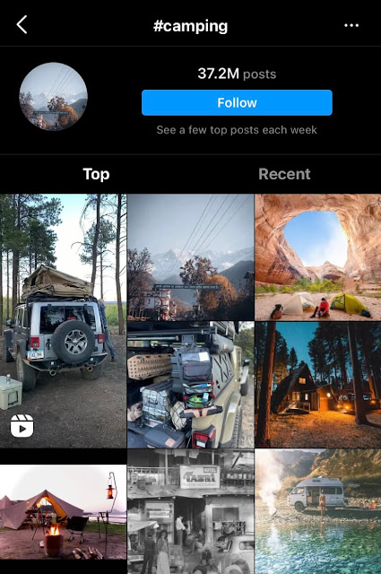 Camping travel hashtags for Instagram