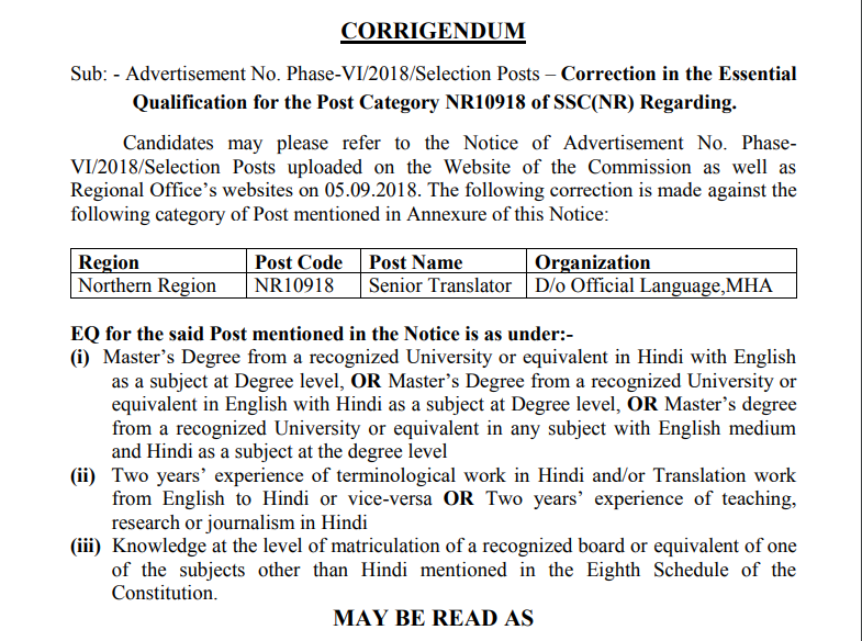 Corrigendum to Phase-VI Selection Posts Notice