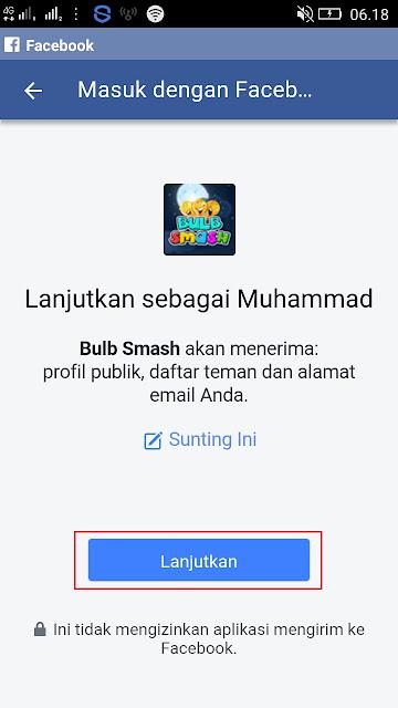cara masuk dengan facebook di game bulb smash