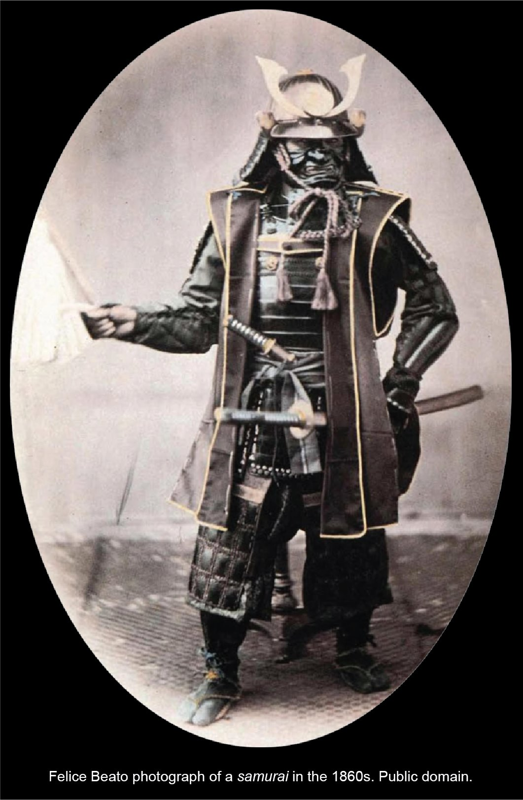 An armored samurai pictured with his daisho, 1860s.