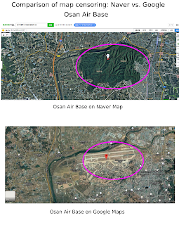 Comparison of Naver Map and Google Map censorship in South Korea: Osan Air Base