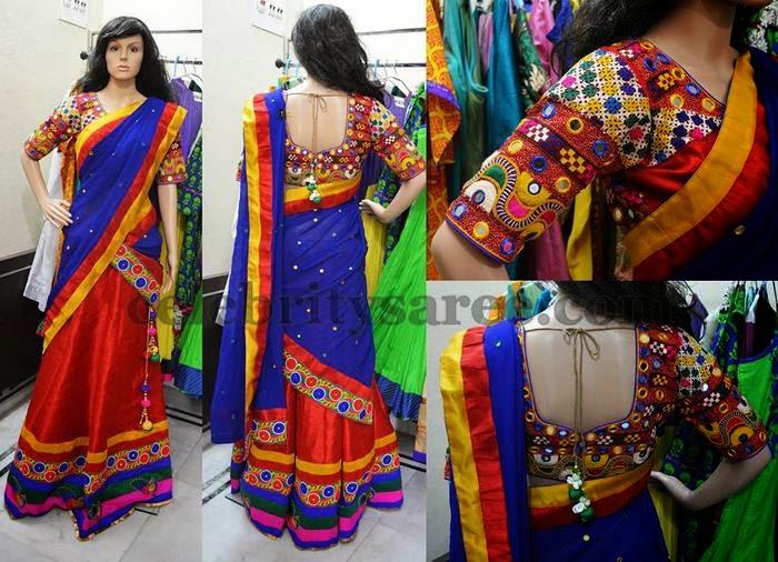 abe7ba231b74bd Red Net Mirror Work Half Saree - Saree Blouse Patterns