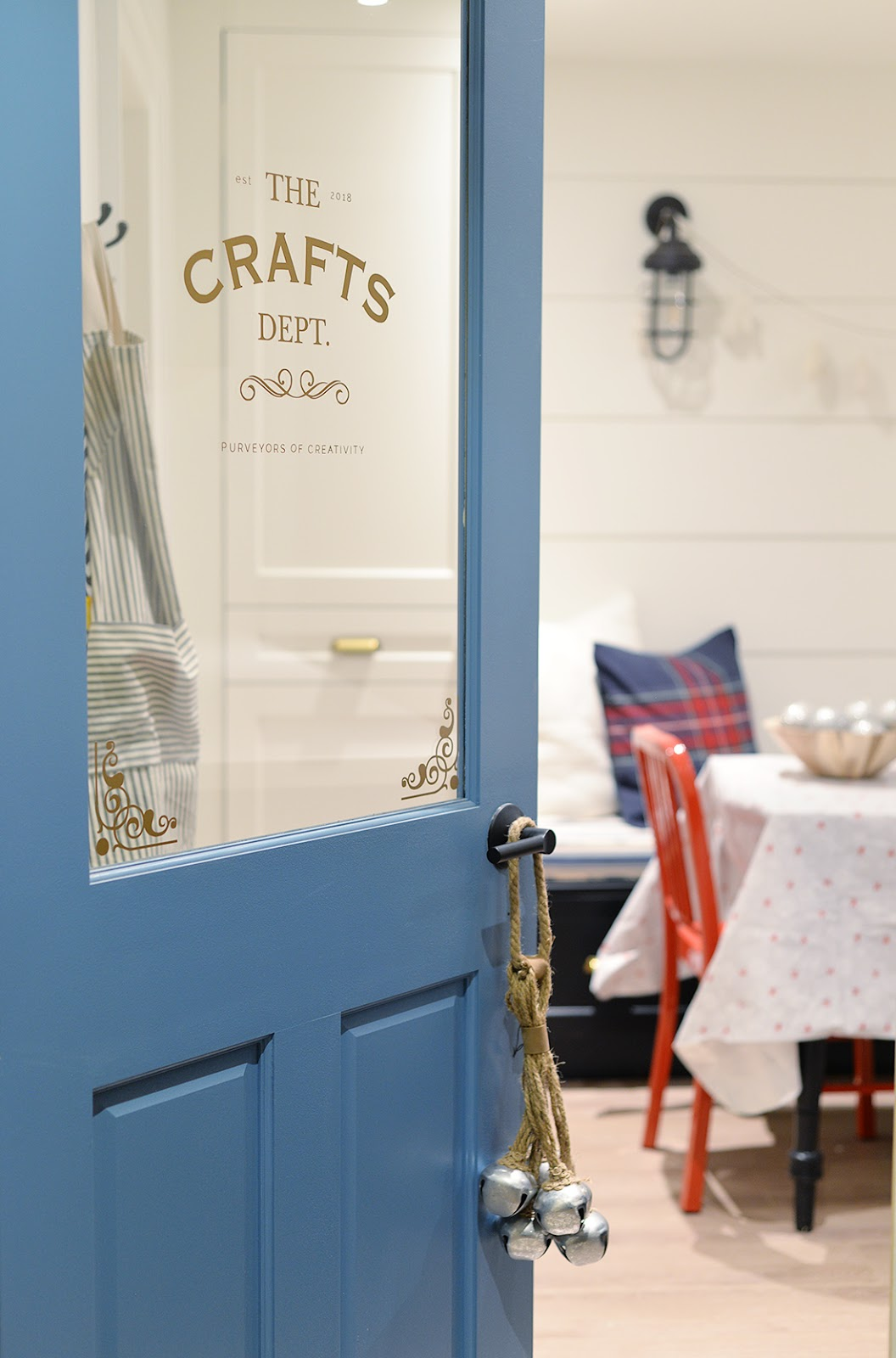 blue craft room door, christmas craft room, crafternoon party