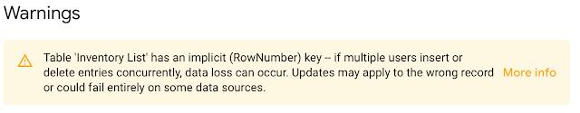 AppSheetで在庫管理、_RowNumberをキーにすると警告メッセージが出てくる