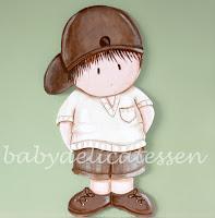 silueta de madera infantil niño con gorra babydelicatessen