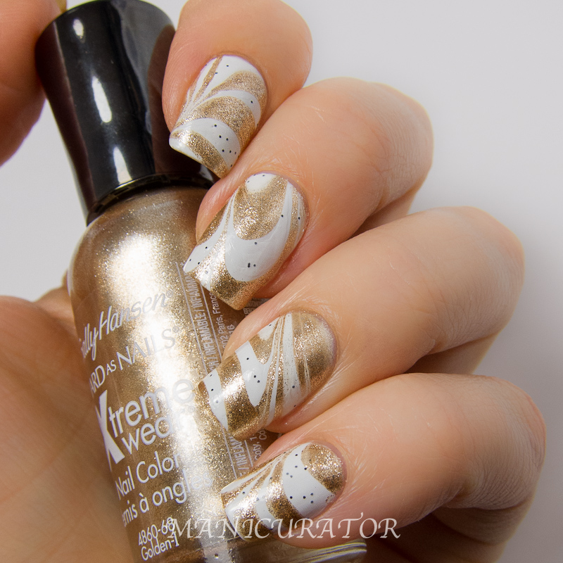 """Cream Nail Art: Magnum Ice Cream """"Good As Gold"""" Nail Art Water Marble For"""